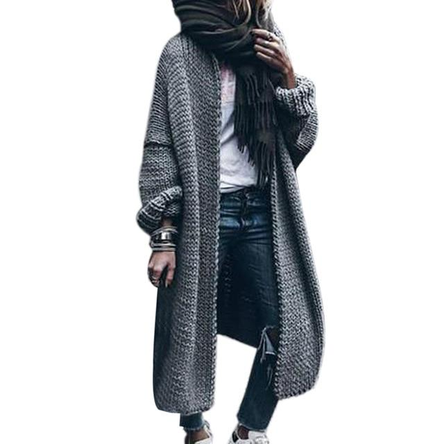 Women's solid chunky knitted cardigan oversized maxi cardigan sweater