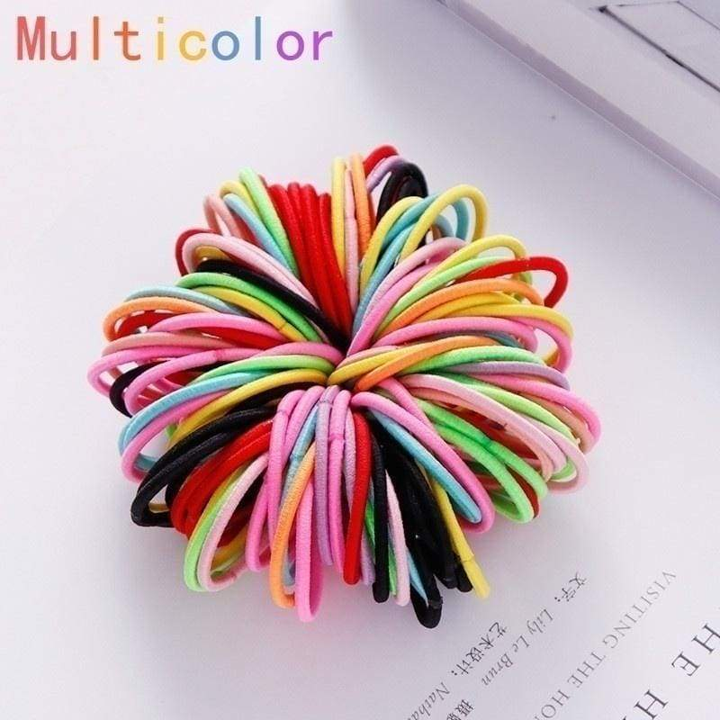 100/200pcs Elastic Rubber Hair Candy Colors Kids Girls Hair Accessories Nylon Hair Ropes Scrunchies Ponytail Children Holder