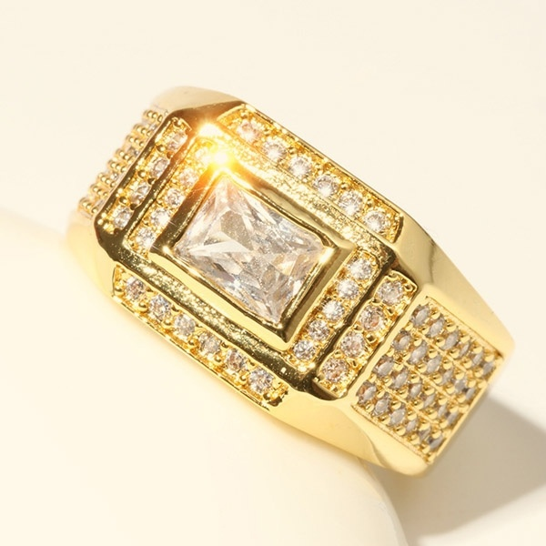 18K Gold Plated Rings for Men Wedding Engagement AAA Cubic Zirconia Mens Ring
