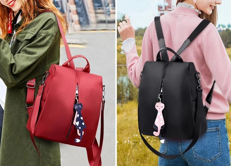 Women's anti-theft backpack simple school bag Oxford cloth