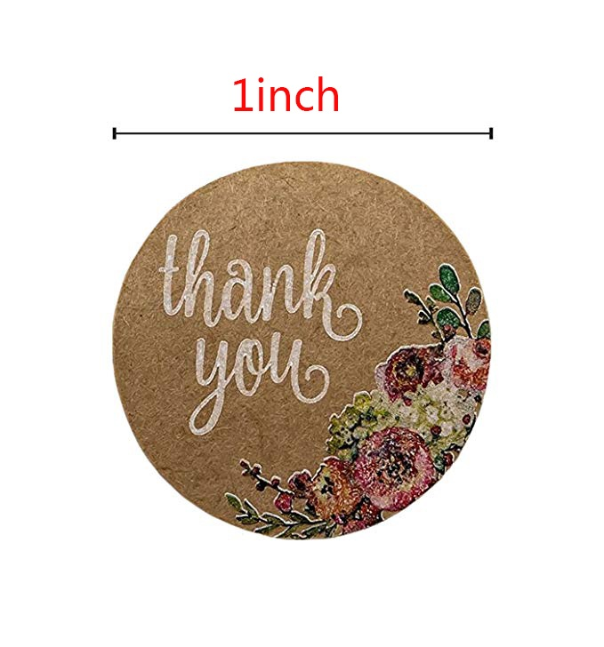 1 inch 500/1000 Pcs kraft lables thank you stickers handmade tags forwedding decoration and kitchen accessories
