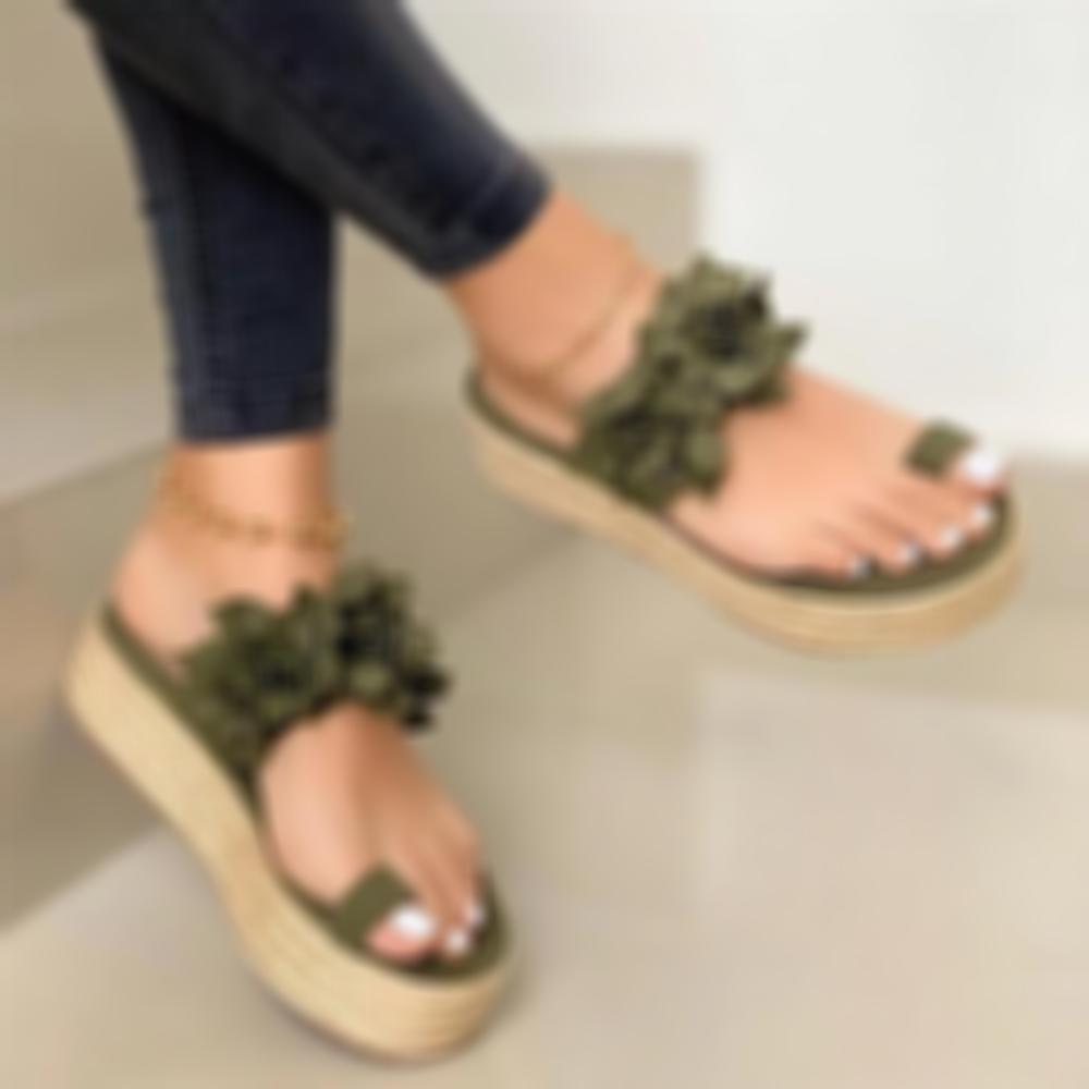 Women Bow Flower Rubber Sole Single Strap Sandals