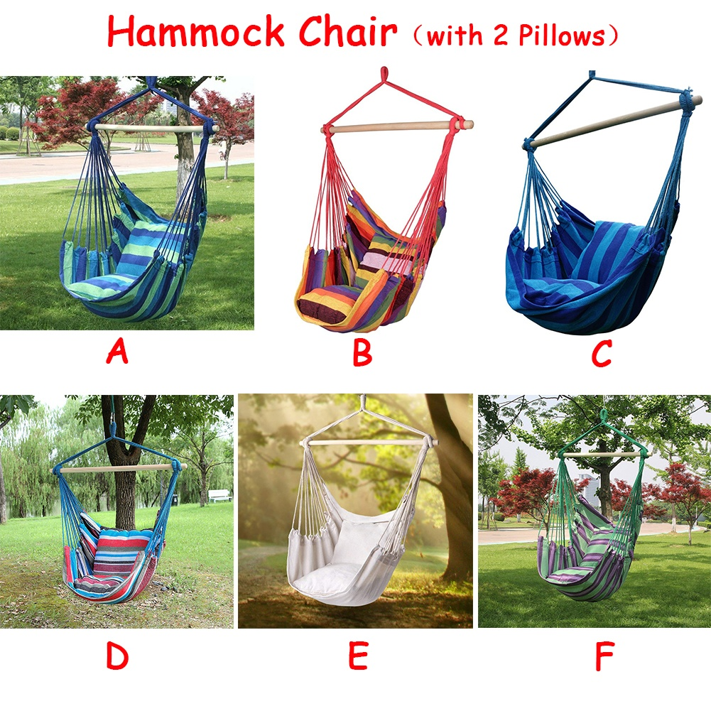 2 Types Hammock Hanging Rope Chair Swing Chair Seat with 2 Pillows for Garden Use