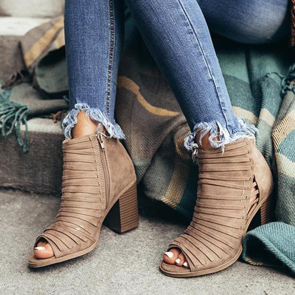 Upawear Peep Toe Hollow Out Chunky Heel Boots