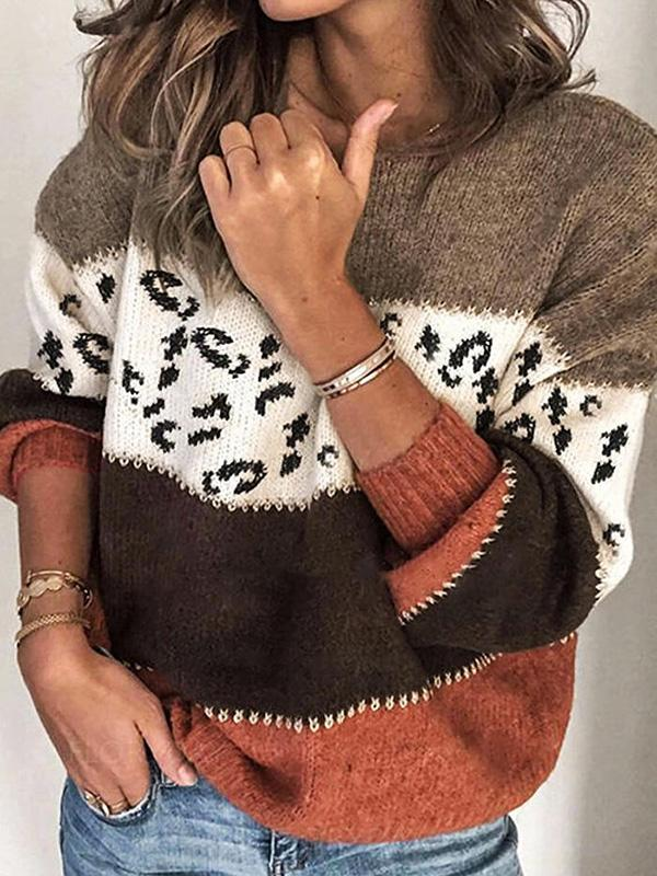 Bonnieshoes Leopard Splicing Knitted Sweater