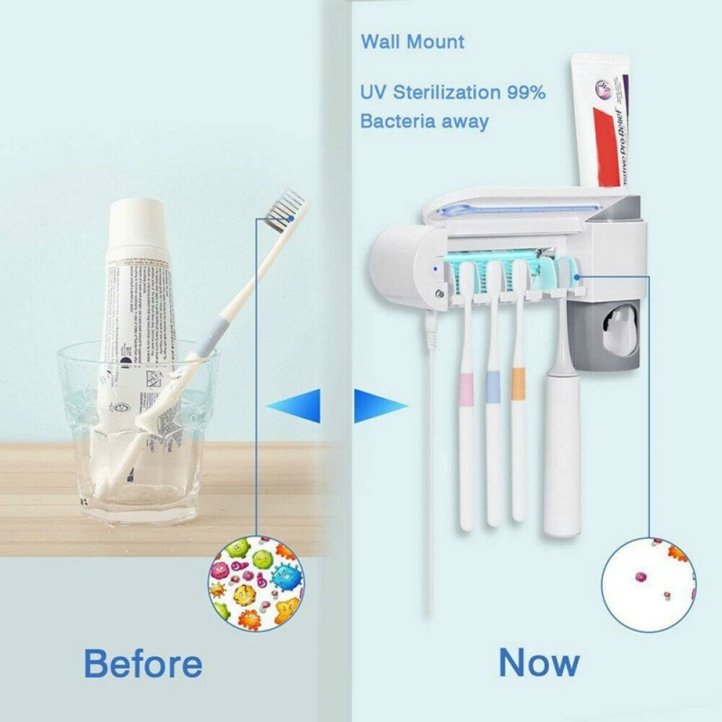 3 in 1 UV Light Ultraviolet Toothbrush Sterilizer Toothbrush Holder Automatic Toothpaste Squeezers Dispenser Home Bathroom Set