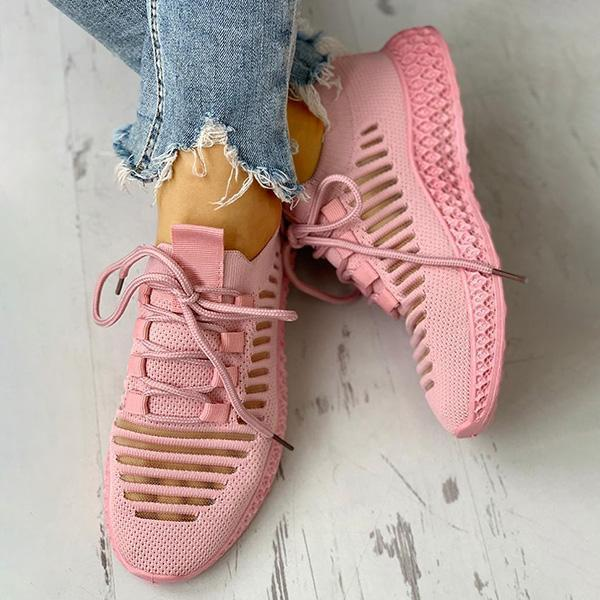 Upawear Net Surface Breathable Lace-Up Hollow Out Sneakers