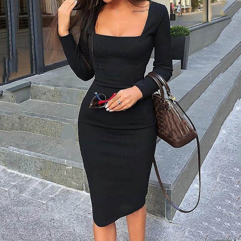Pure Color Square Collar Long Sleeve Casual Hip Dress