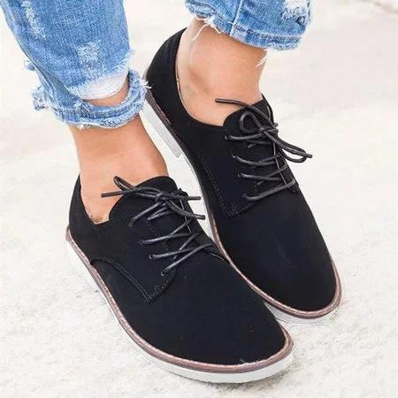 Lace Up Flat Heel Oxfords Comfy Driving Loafers For Women