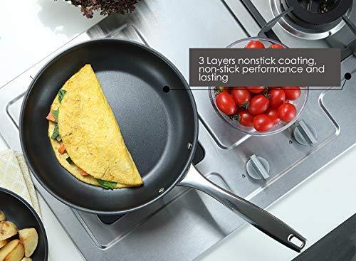 Momscook 2-Piece Stainless Steel Nonstick Multi-Layer Base Fry Pan/Saute Pan