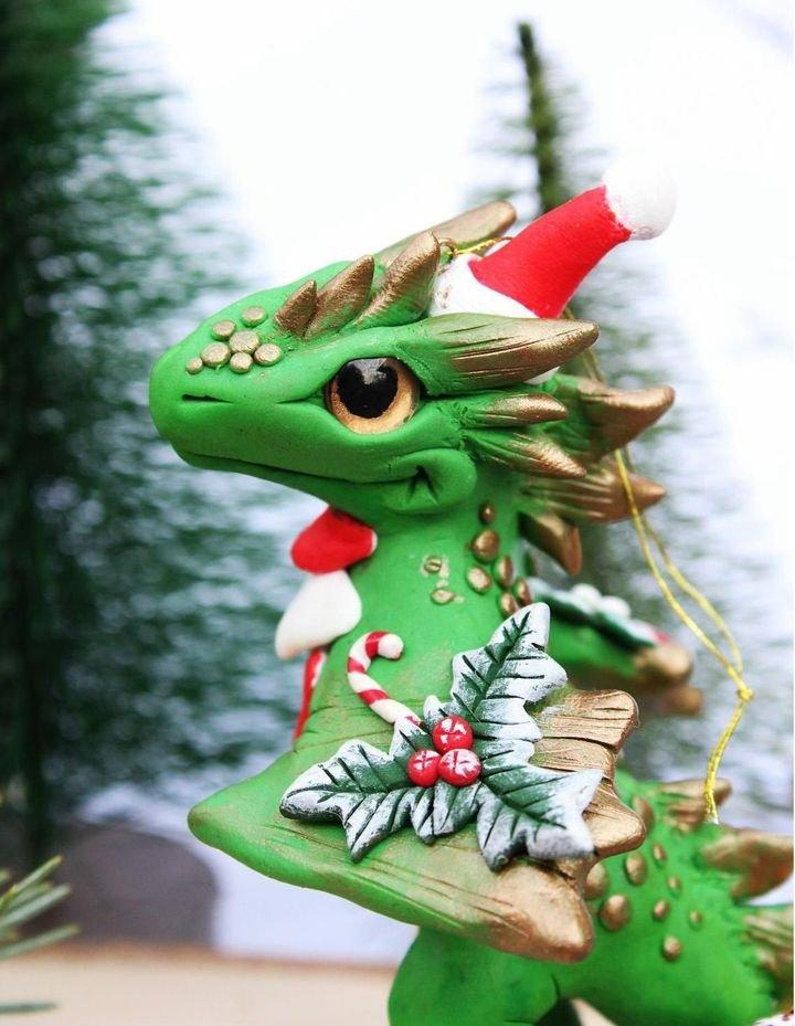 Santa Baby Dragon Christmas Ornament