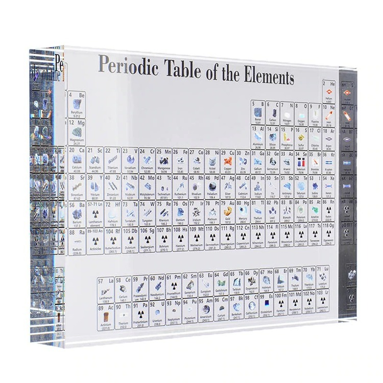 Acrylic Glass Periodic Table With Real Elements