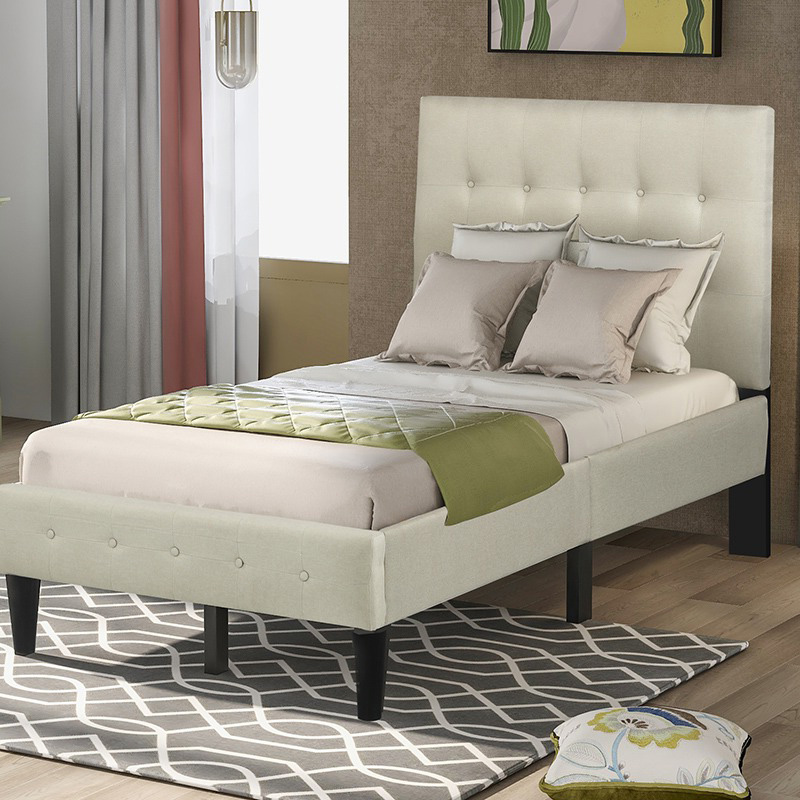 Buyonhome Upholstered Platform Bed with Wooden Slat Support