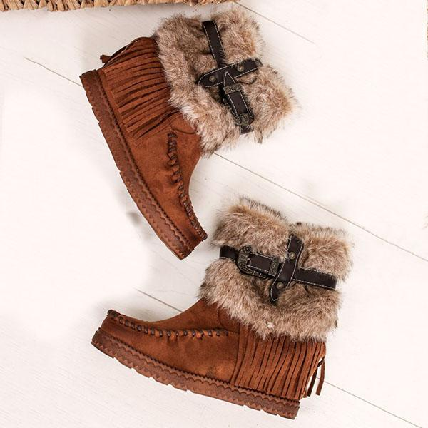 Faddishshoes Tassel Fur Cross Buckle Boots