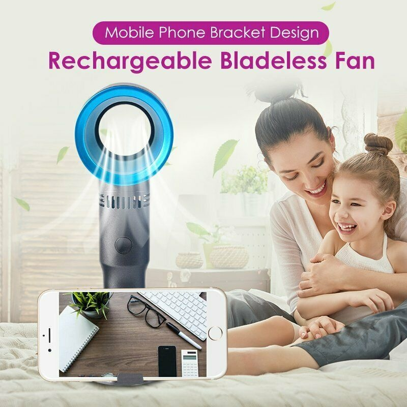 4-color USB Charging Portable Electric Fan Cooling Fan Mini Portable Leafless Fan Ultra-quiet Summer Home Office Air Cooler Washable with Base