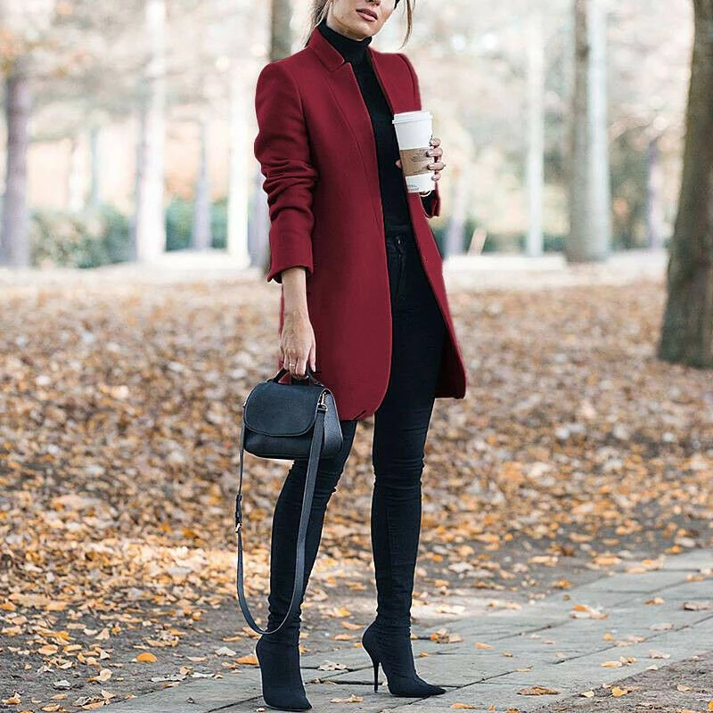Fashion solid color stand collar woolen coat