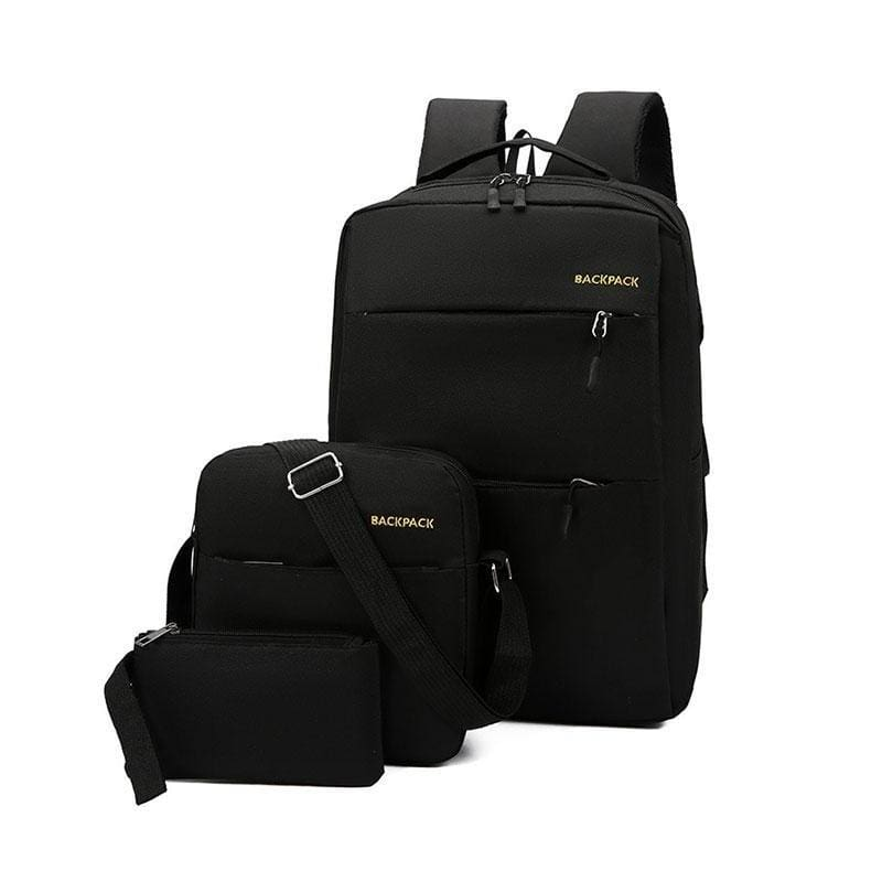 3Pcs/set Fashion Laptop Backpack Casual Messenger Student Notebook School Bag with USB Port