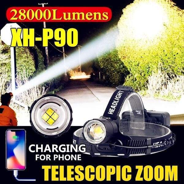 28000LM CREE XH-P90 High Power USB Charging LED Headlights Outdoor Hunting Telescopic Zoom Ultra Bright Head Lamp (with Power Bank Function)