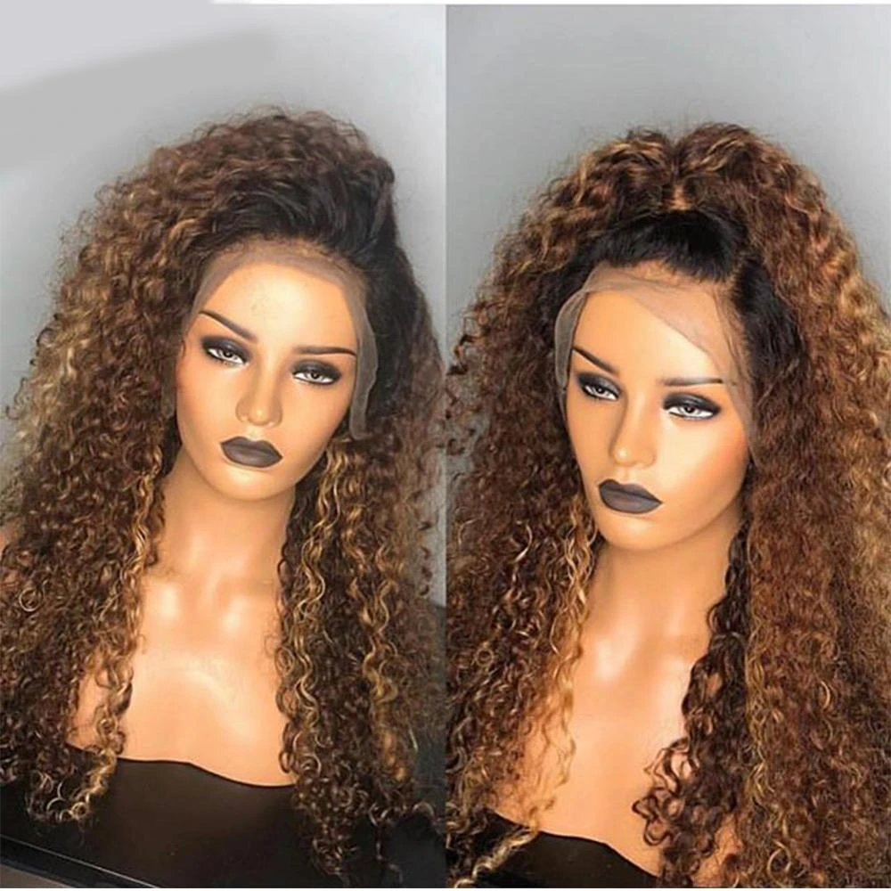 Lacwig® |  Curly Lacwig Pre Plucked Natural Hairline Black/Brown Wig