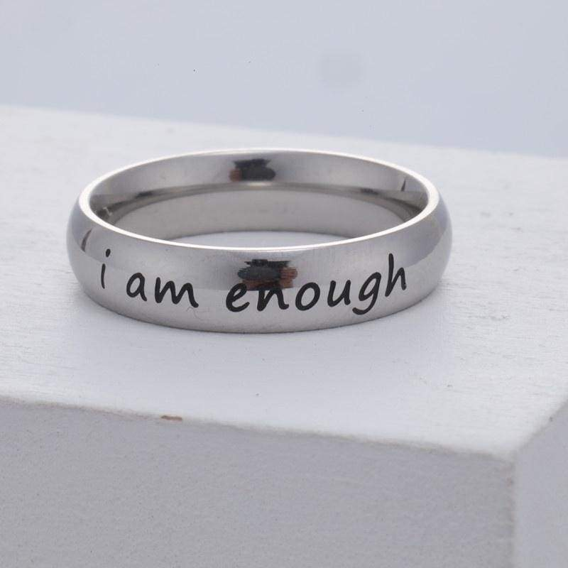 Letter Ring Inspirational Rings I Am Enough Ring Suicide Rings Depression Ring Titanium Steel Ring Diy Rings Simple Rings Semicolon Ring Steel Ring