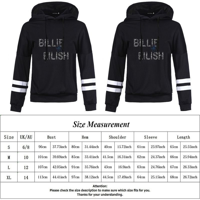New Women Fashion Casual New Singer Billie Eilish Cool Printed Hoodie Long Sleeve Stripe Hooded Sweatshirt Pullover Tops