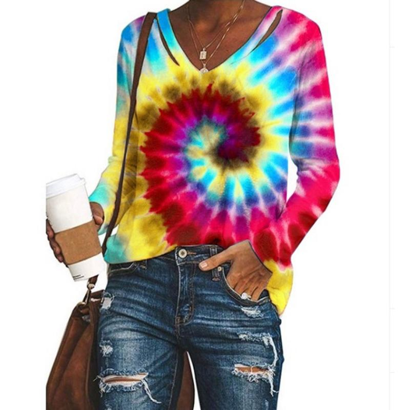 Long Sleeve V Neck Colorful Womens Tie Dye Shirts