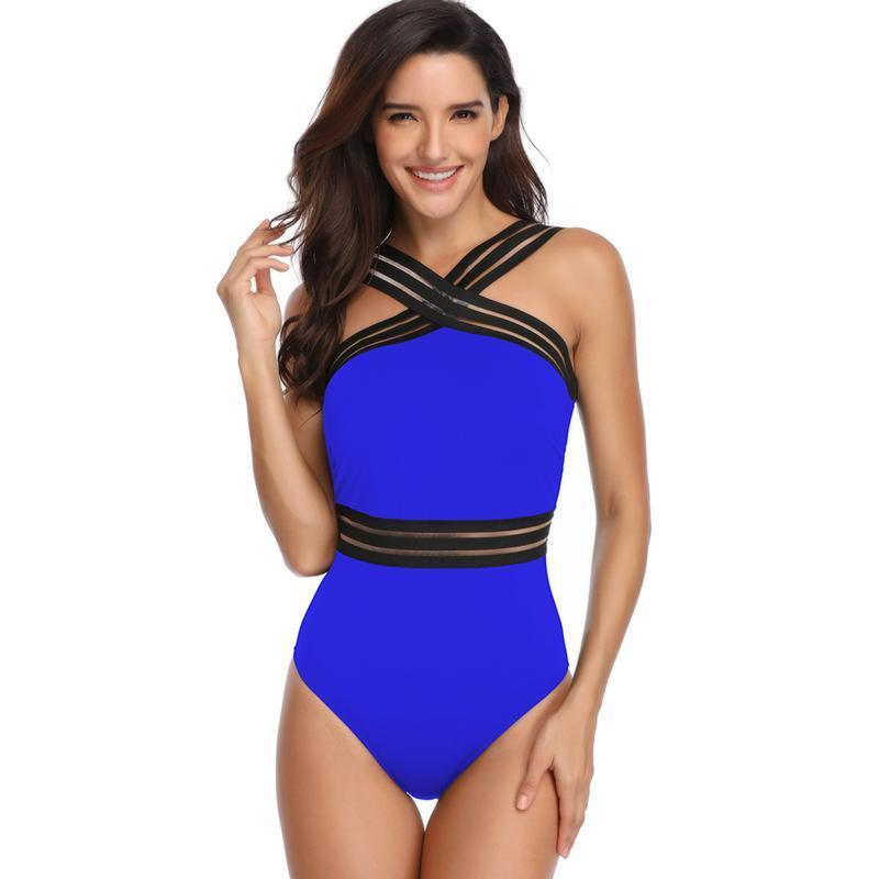 Solid Criss Cross Stripes Slim One Piece Swimsuit