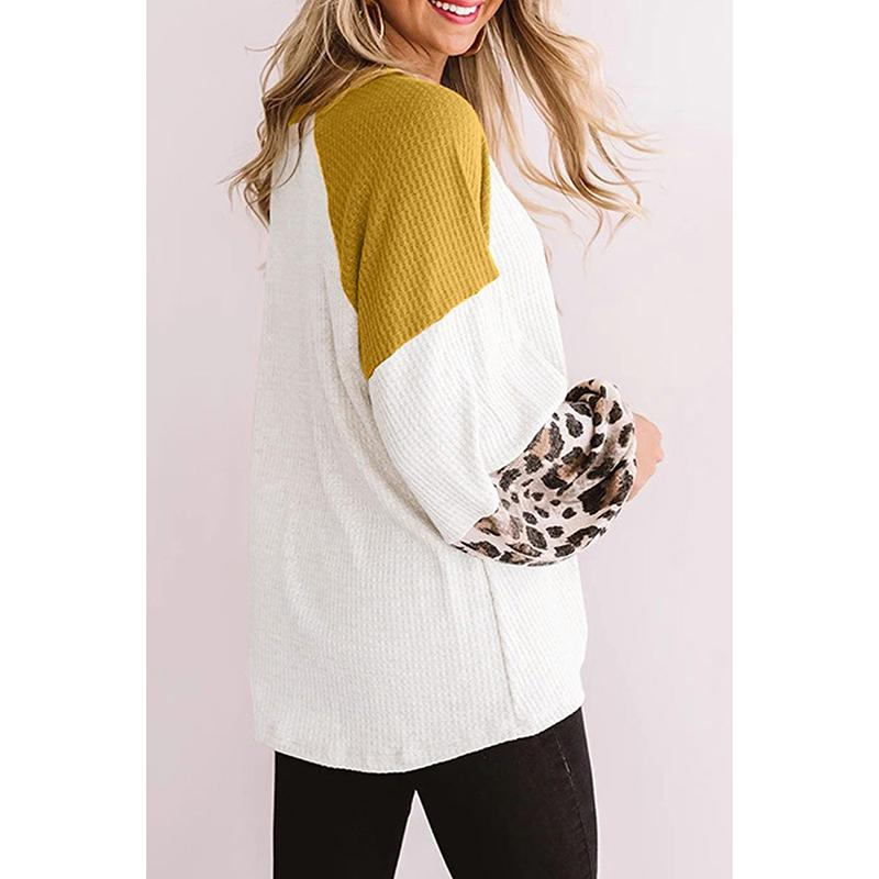 Women Knit Winter Fall Color Block Leopard Top