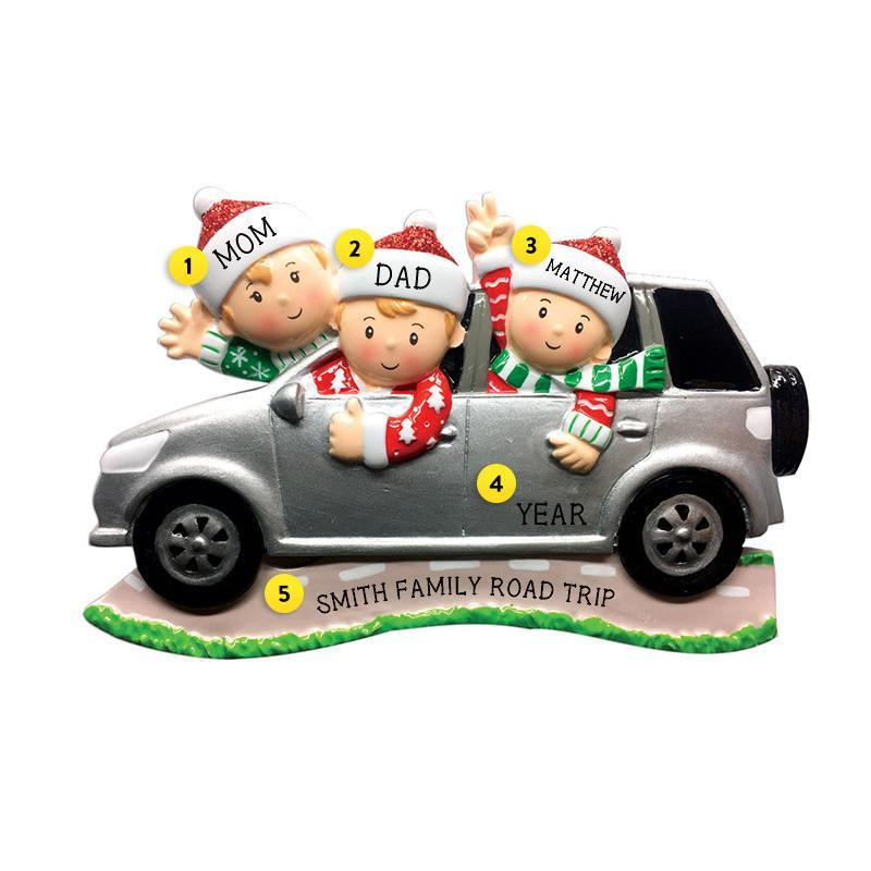 Driving a SUV Family of 3 Ornament