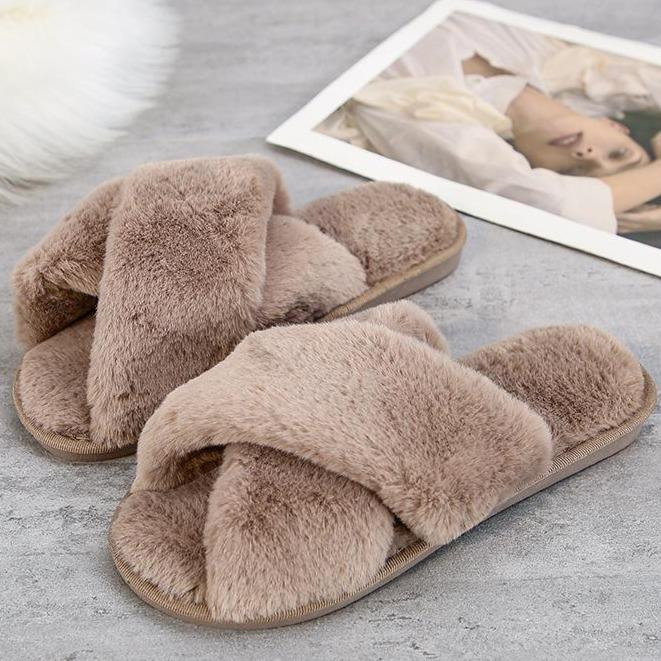 Fashion criss cross furry slippers winter warm house shoes for women