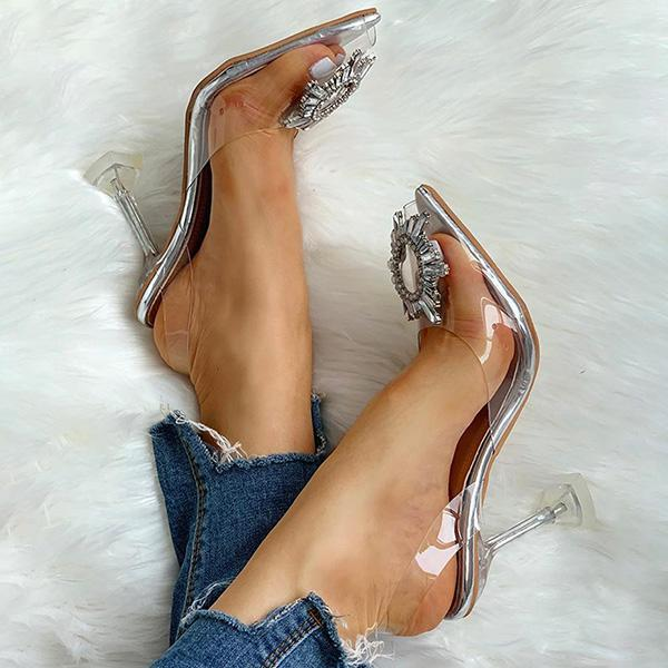 Zoeyootd Studded Pointed Toe Transparent Thin Heels