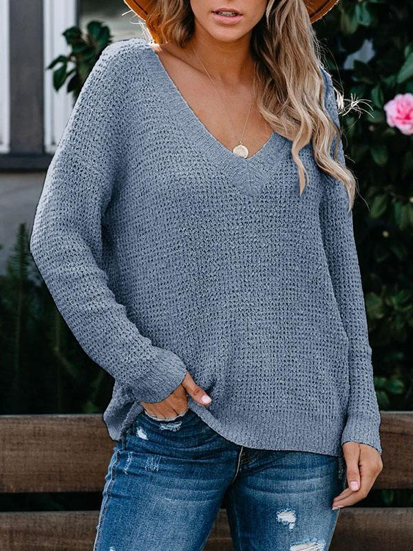 Bonnieshoes Large V-Neck Casual Comfortable Sweater