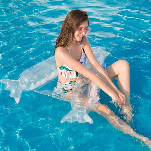 Candy Feather / Star Folding Recliner Inflatable Float Water Bed with Net Hammock