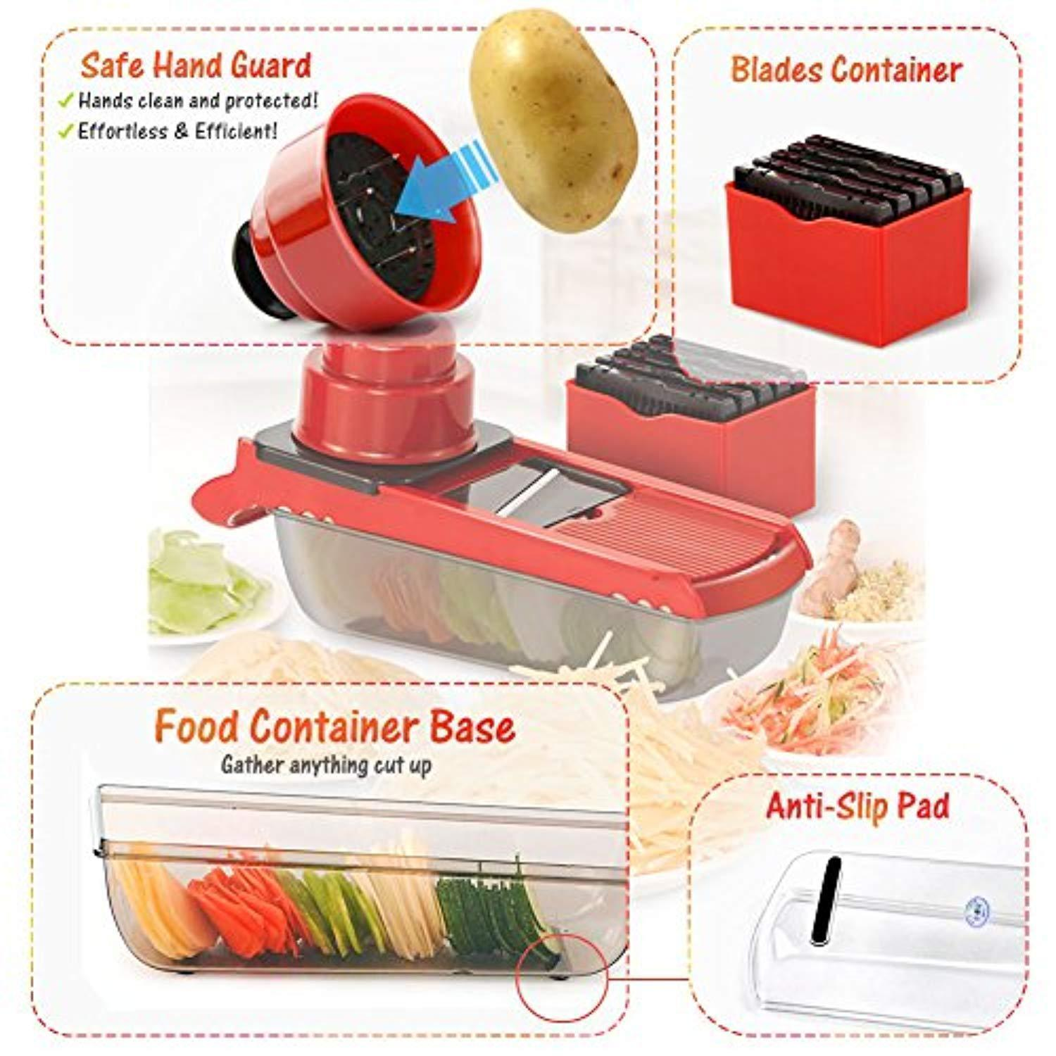 6 IN 1-Vegetable Slicer with 6 Interchangeable Stainless Steel Blades