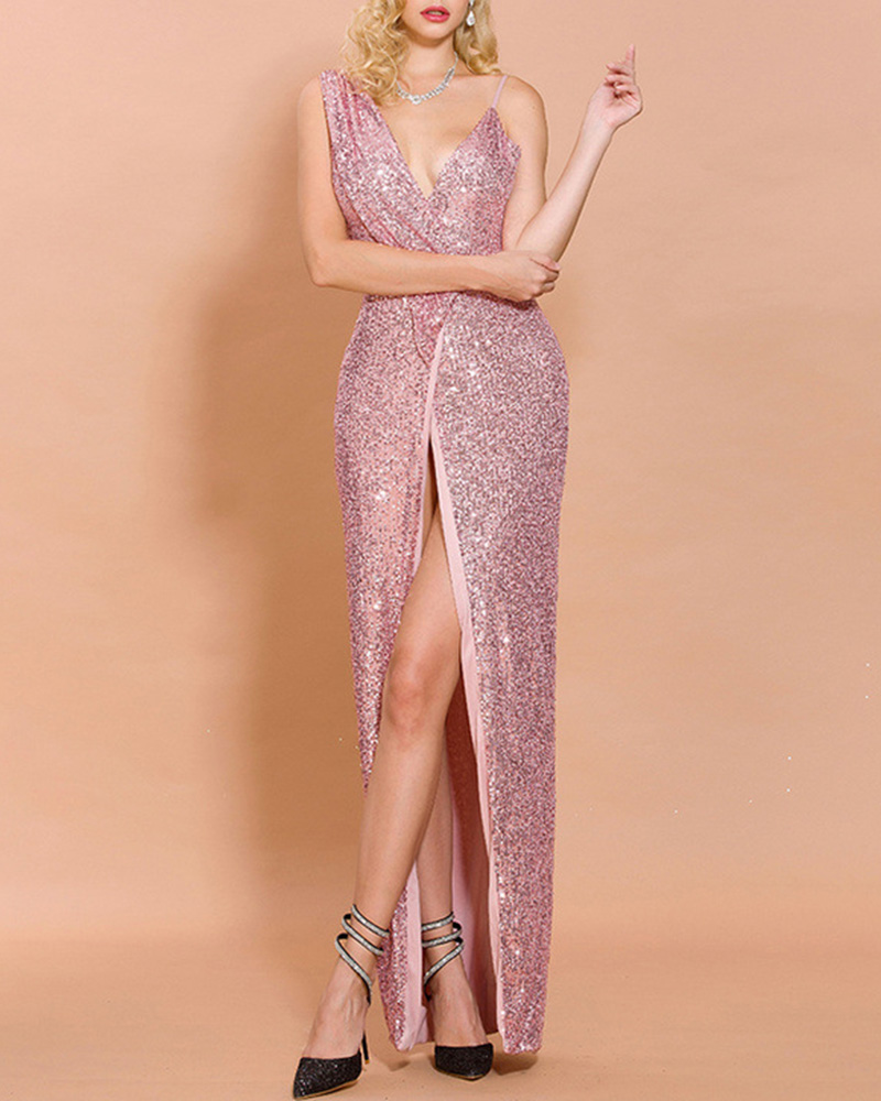 Sexy Off-The-Shoulder Strap Sequined Sleeveless Evening Dress