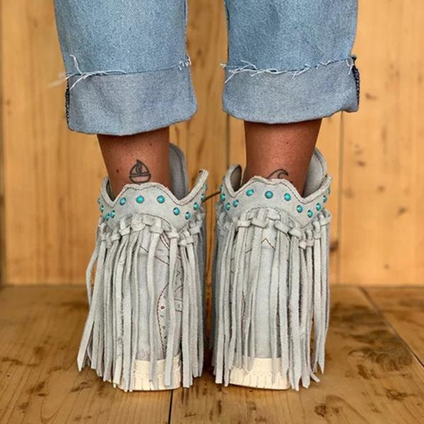 Mokoshoes Tassel Wedge Heel Faux Suede Spring/fall Boots