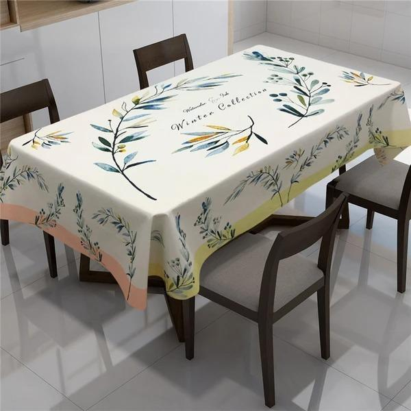 Floral Leaves Print Waterproof Antifouling Tablecloth