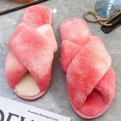 Fashion colorful tie dye criss cross slippers furry warm winter house shoes