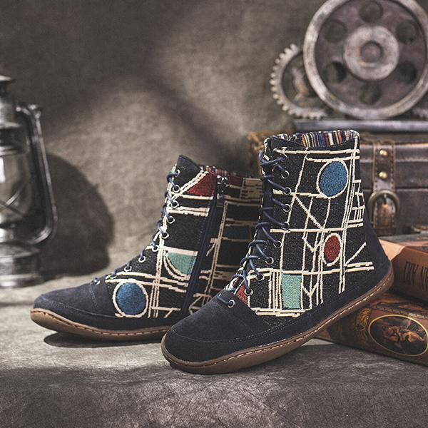 Bonnieshoes Retro Cloth Pattern Floral Lace Up Zipper Comfy Flat Casual Ankle Boots