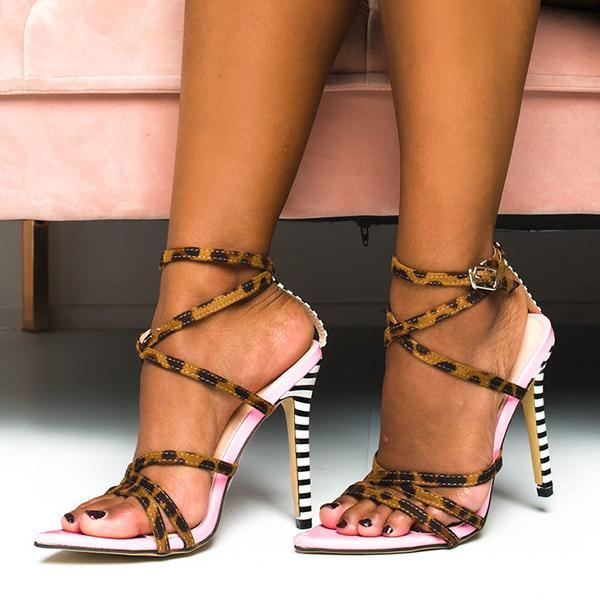 Mokoshoes Printed Strappy Pointed High Heels