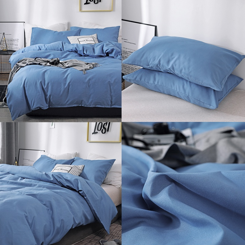 Super Soft Brushed Fabric Solid Color Duvet Cover & Pillow Shams Set Single Twin Double Full Queen King 10 Size Comforter Covers With Zipper Closure 10 Colors
