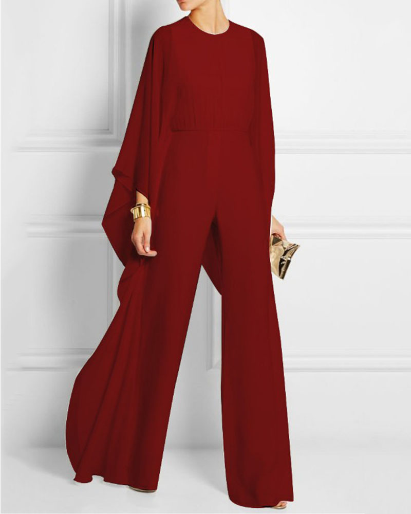 Sexy Solid Color Loose Mesh Jumpsuit