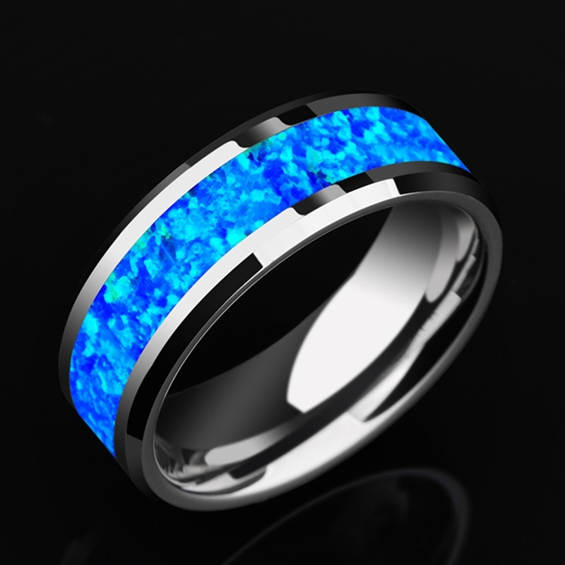 New Luxurious 8mm Tungsten Steel Ring Inlay Blue Opal Wedding Band Men's Promise Jewelry Gift