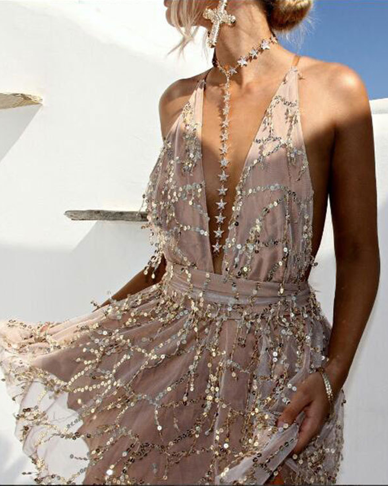 Sequined Deep V-neck Backless Casual Evening Gown