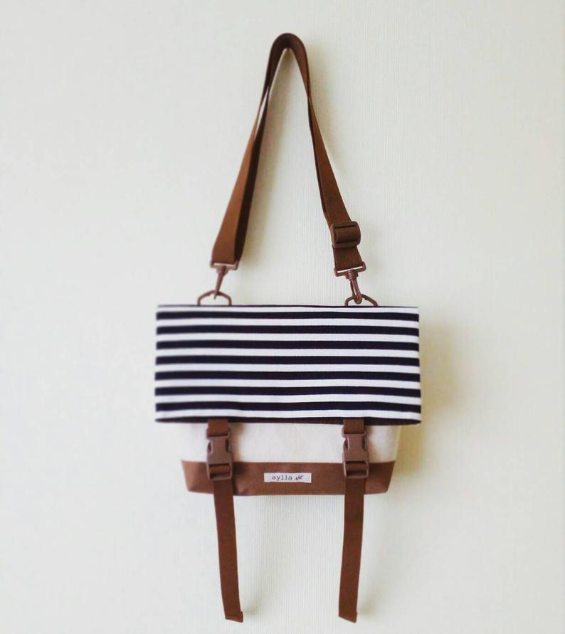 Canvas Crossbody Bag, Crossbody Bags for Travel, Foldover Crossbody bag, Messenger Bag, Shoulder Bag, Hip Bag, Fold Over, Striped Bag        Update your settings