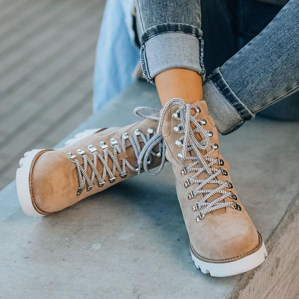 Bonnieshoes Faux Suede Lace Up Boots