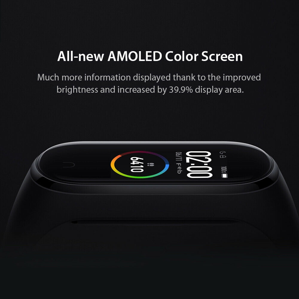 2019 Original Xiaomi Mi Band 4 Newest BT 5.0 Music Smart Bracelet Heart Rate Watch Fitness 135mAh Bluetooth5.0 50M Swimming Waterproof Wristbands Chinese Version (language English and Chinese)