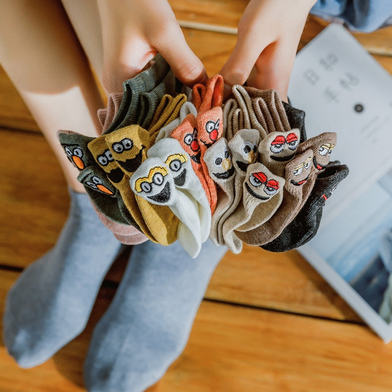 1 Pair Kawaii Embroidered Cartoon Women Socks Happy Fashion  Funny Socks Couple Socks Cotton Candy Color
