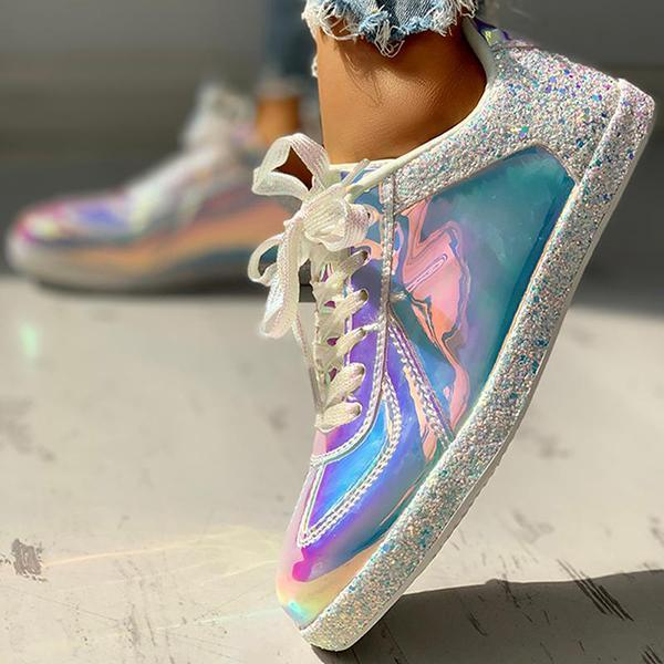 Zoeyootd Fashion Glitter Colorblock Lace-up Sneakers