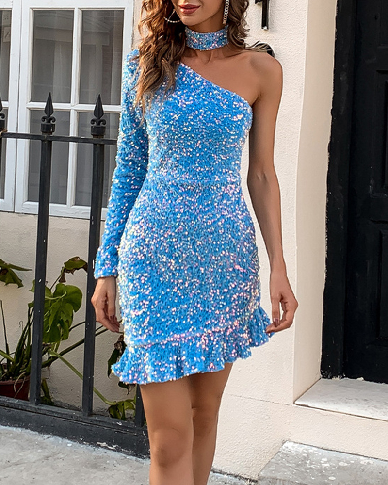 Fashion Off-The-Shoulder Sequin Evening Dress